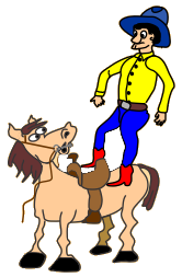 Cartoon of rider dropping onto a horse's back