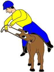 Cartoon of rider turning horse